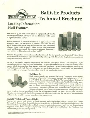Brochure hull features ballistic products